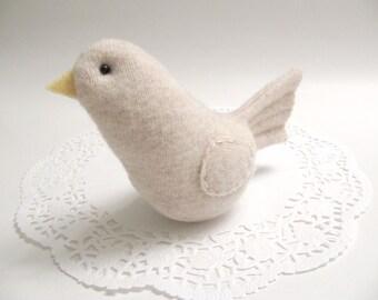 Oatmeal Bird Woodland Nursery Decor Fabric Bird Soft Sculpture For Baby Room Decoration Stuffed Animal Fabric Bird Girls Room Decor 851
