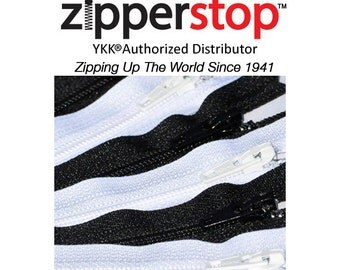 100 Zippers wholesale lots - 3 Inch to 108 Inch  YKK Number 3 Nylon Coil Closed Bottom Made in USA (Options Length, Color)