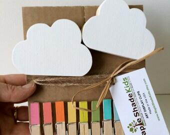 Cloud Art Display Clips, Rainbow Clips, Kids Decor, Cloud wall art, eco friendly