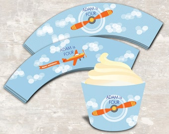 PRINT & SHIP Airplane Birthday Party Cupcake Wraps (set of 12) | Paper and Cake