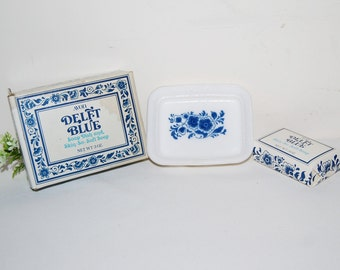 Vintage Soap Dish Delft Blue Avon Milk Glass