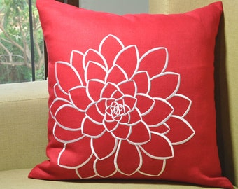 White Red Pillow Cover, White Flower Embroidery, Floral Decorative Throw Pillow, Red Flower Pillow, Home Decor, Linen Pillow Case, Cushion