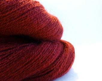 Brick - Lace Weight Yarn - Merino Wool Recycled Yarn - Lot 200214