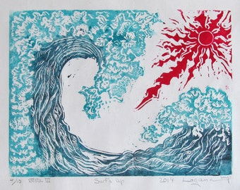 Surf's Up,  Limited edition, color  linoleum block print, hand printed and pencil signed by artist