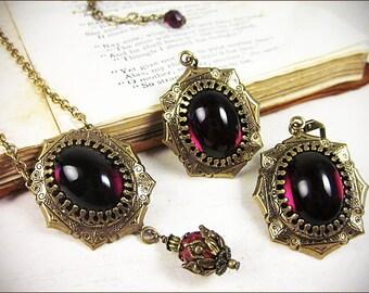 Necklace and Earring Set, Red Renaissance Jewelry, Garnet, Borgias, Tudors, Garb, Tudor, Medieval Wedding, Ren Faire Bride, Bridesmaid