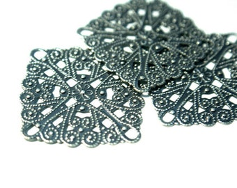 Filigree Sqaure Brass Stamping antiqued silver plated BRASS cone wrap, chandelier pendant