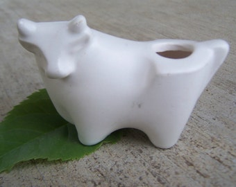 Vintage Collectible figurine Modernist White Porcelain Bull Naris Cosmetics Taurus Lipstick Holder 1970's, One bull per Order