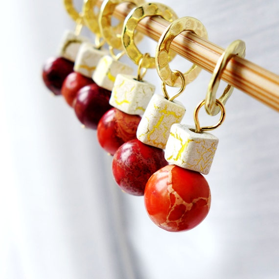 LAST SETS Sale 10% Off - Desert Sunset - Five Handmade Stitch Markers - 8.0 mm (11 US) - Limited Edition
