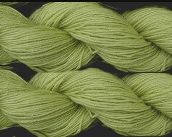 Pure wool sock yarn sport weight,  lime, 2 skeins, 3.5 oz