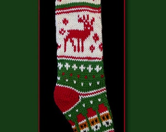 Hand knit Christmas stocking,  pattern only, reindeer and snowman