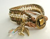 BOGO. Handmade leather wrap bracelet. Czech pearls, crystals, bird, crystal, charms, Romantic, Victorian, Baroque, modern, adjustable.