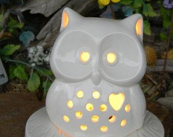 Ceramic Owl Night Light Lantern Wood Slab Base Lighted