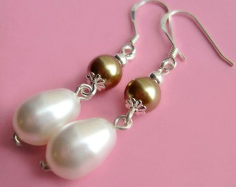 Sterling Silver, Gold and White Swarovski Pearl Drop Earrings