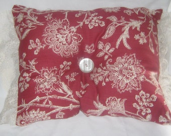 Cottage Shabby Chic Style Decorative Pillow Complete Ruffled lace Edges Center Button Beige and Red Home Decor