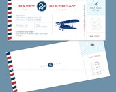 Vintage Airplane Party / Themed Personalized Birthday Party Invitation / PDF File