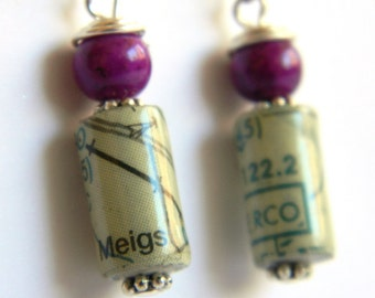 Paper Bead Jewelry - Aviation Map Chart Earrings - #ET104
