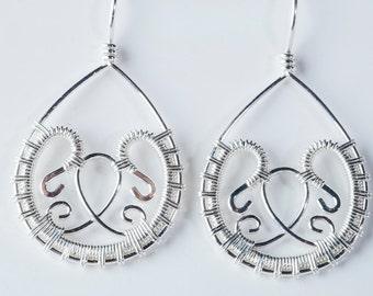 Freya: Petite Intricate Filigree Drop Earrings in Gold-filled, Sterling Silver, All-in-one