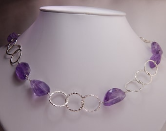 Long Hammered Sterling Silver Chain with Chunky Amethyst Stones