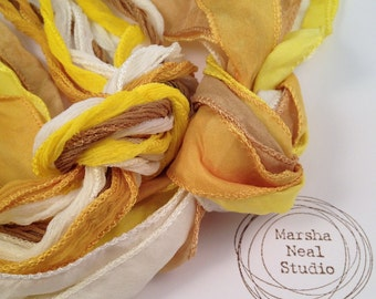 Hand Dyed Silk Ribbon - Silky Ribbon - Fairy Ribbon - Jewelry Supplies - Wrap Bracelet - Craft Supplies - Yellow Gold Color Palette