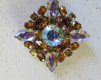 Vintage Signed Austrian Crystal Pin