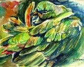 ORIGINAL Green Parrot watercolor painting bird painting 9x12