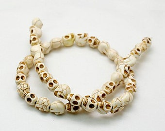 White Skull Beads - 8mm x 10mm - Sold by the strand - #TURQ128