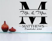 Custom Mr & Mrs Last Name and Year Vinyl Lettering Wall Decal wedding sticker