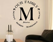 Custom Our Family Monogram Circle Vinyl Lettering Wall Decal Great Wedding Gift art sticker