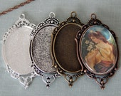 20 Oval Filigree 30 x 40mm Photo Pendant Trays Antique Silver, Silver, Antique Bronze, Antique Copper