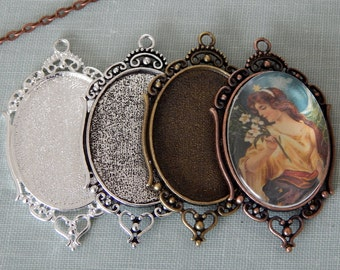 20 Oval Filigree 30 x 40mm Photo Pendant Trays Antique Silver, Silver, Antique Bronze, Antique Copper