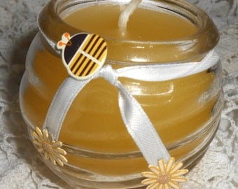 Candle, Yellow, Honey Bee, Flowers, Pineapple Scent, Bumble Bee Decor, Container Candle, Small Candle