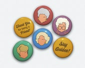 Golden Girls Faces Buttons Original Illustrations Pinback Button Set of 6