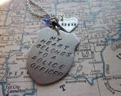 My Heart Belongs to a Police Officer - Metal Hand Stamped Necklace