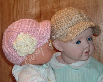 CROCHET PATTERN Baby Boy Girl Baseball Cap Visor Hat sizes 0 to 12 mo adult instructions included skill level intermediate