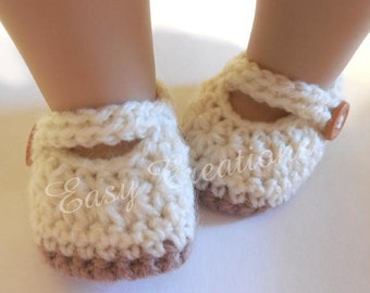 "CROCHET PATTERN, 18"" Doll Mary Jane Shoes, Doll Clothes, booties, strap button, skill level intermediate"