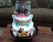 Elephant Diaper Cake Jungle Theme Baby Shower Centerpiece or gift elephant available and other ribbon colors too