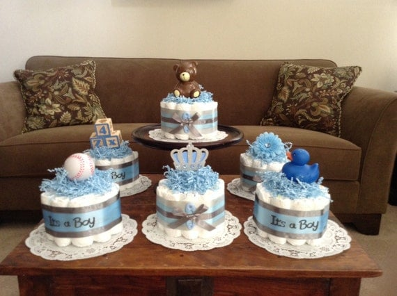 It s a boy baby Shower Centerpieces bundt diaper cakes