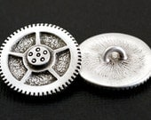 Steampunk Watch Gear Buttons in Pewter - Set of TWO -Your Choice of Color by Treasure Cast Pewter
