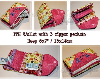 """ITH WALLET with up to 3 zipper pockets Embroidery Design File 13x18 cm 5x7"""" In The Hoop"""