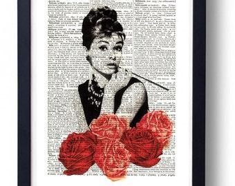 Original Art Print on A Vintage Dictionary Book Page /  Audrey Hepburn  / Roses / Kitch