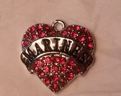 Silver plated Marines Heart Red Crystal Pendant charm military