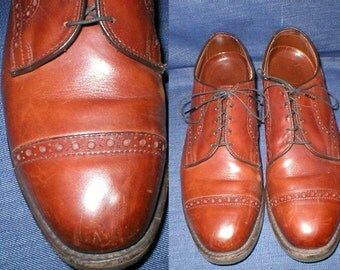 80s brown leather lace up oxford shoes by Allen Edmonds Mens Size 9 1/2