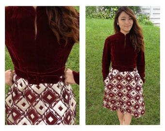 60s designer Ceil Chapman metallic brocade dress size medium