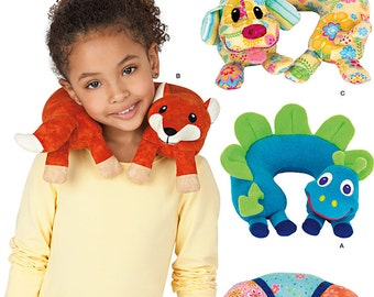 SEWING PATTERN / Make Animal Neck Pillows for Kids / Fox - Dog - Dinosaur - Bug / Great for Traveling