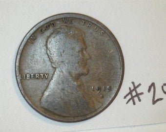 Lincoln Wheat Penny / Semi Key Date 1915 D /  No.20