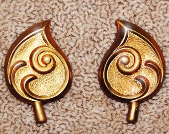 Vintage 4 Art Deco Stylized Brass (2 Left and 2 Right) Stampings 29x19MM N3R