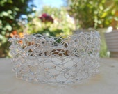 Crocheted Sterling Silver Wire Cuff