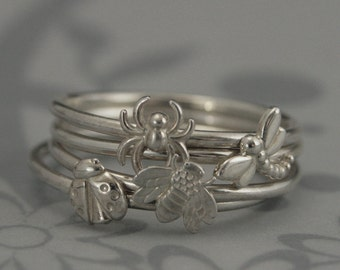 NEW Bugga Bugga Bands--Solid Sterling Silver Stacking Set of All 4 Bugs--Ladybug, Bumble Bee, Dragonfly, and Spider-Custom Made in Your Size