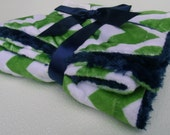 Navy Blue and Lime Green Chevron Minky Baby Blanket