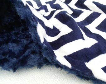 Navy Blue Chevron Minky baby Blanket - for toddlers and adults also Can Be Personalized